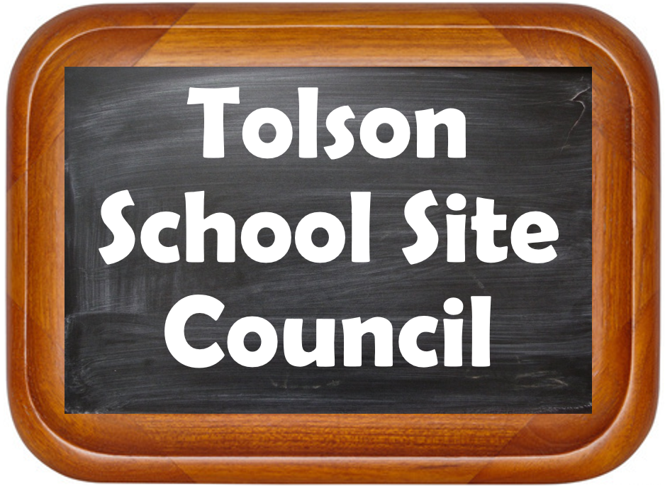 Tolson Site Council on a small blackboard